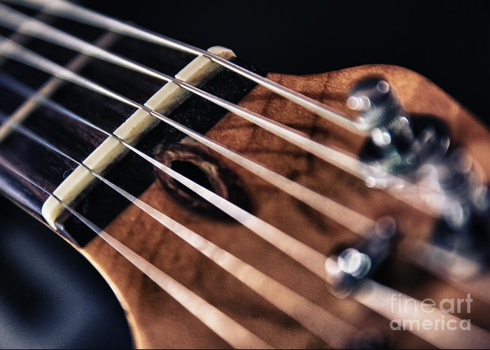 Abstract Greeting Card featuring the photograph Guitar Strings by Stelios Kleanthous