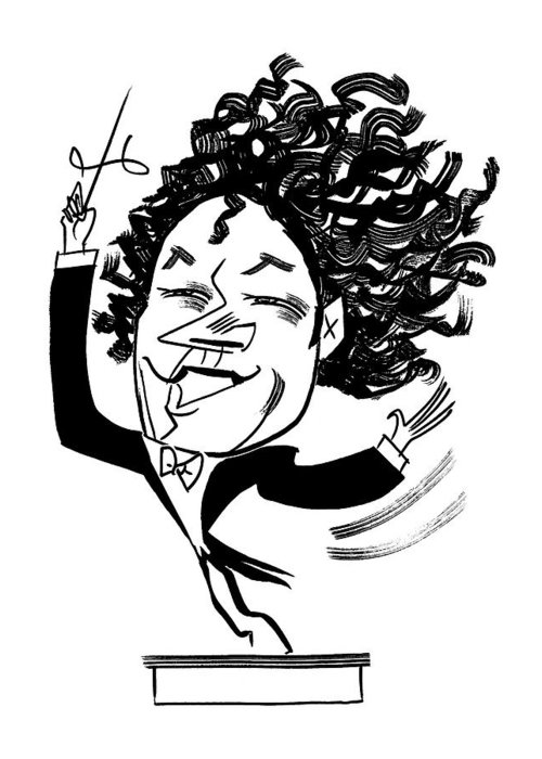 Gustavo Dudamel Greeting Card featuring the drawing Gustavo Dudamel by Tom Bachtell