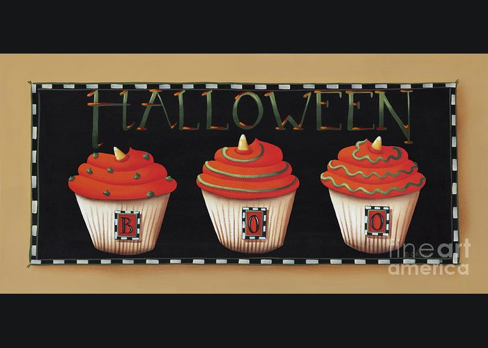 Art Greeting Card featuring the painting Halloween Cupcakes by Catherine Holman