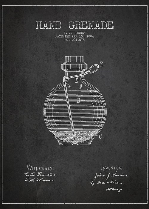Grenade Greeting Card featuring the drawing Hand Grenade Patent Drawing From 1884 by Aged Pixel