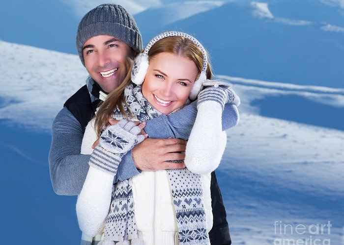 Adult Greeting Card featuring the photograph Happy Couple Playing Outdoor At Winter Mountains by Anna Om