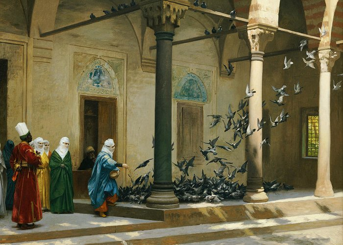 Harem Greeting Card featuring the painting Harem Women Feeding Pigeons In A Courtyard by Jean Leon Gerome