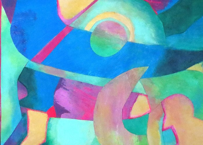 Abstract Expressionism.acrylic Collage Greeting Card featuring the mixed media Harmony In G by Diane Fine