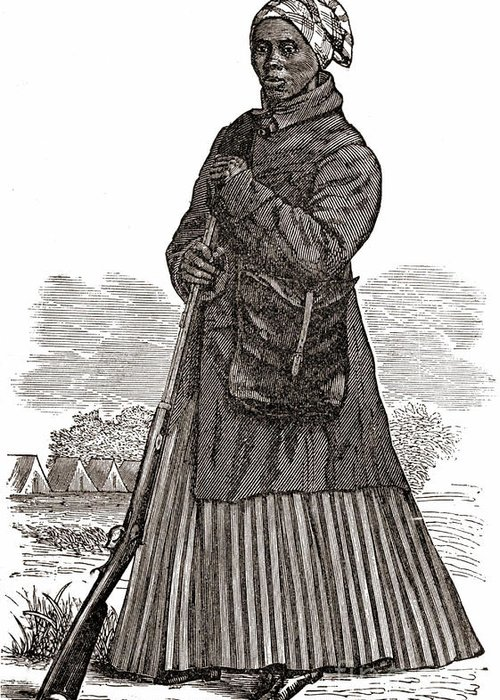 Illustration Greeting Card featuring the photograph Harriet Tubman, American Abolitionist by Photo Researchers