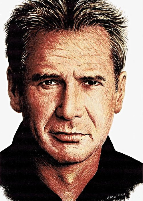 Harrison Ford Greeting Card featuring the drawing Harrison Ford by Andrew Read