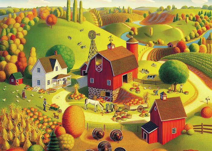 Harvest Landscape Greeting Card featuring the painting Harvest Bounty by Robin Moline