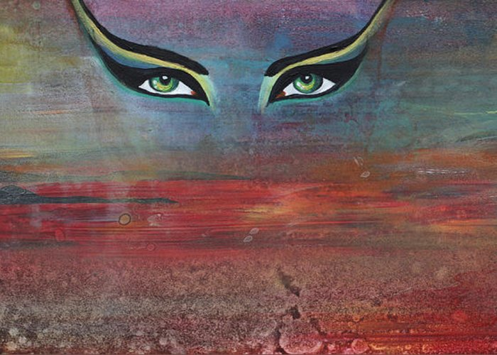 Hathor Greeting Card featuring the painting Hathor by Stacey Austin