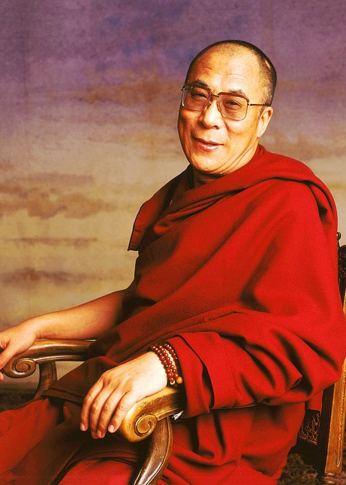Holy Figures Greeting Card featuring the photograph H.h. Dalai Lama by Jan W Faul