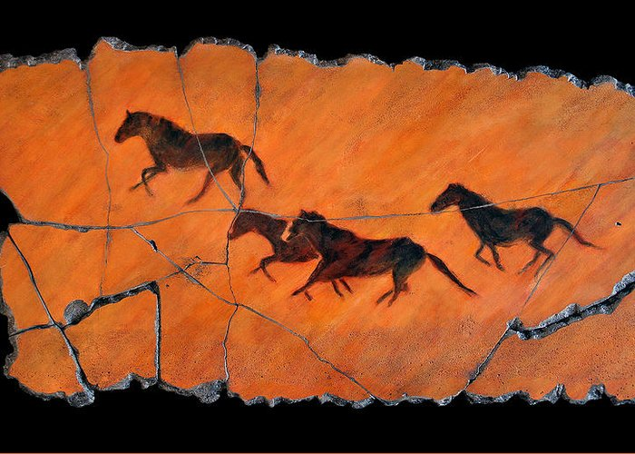 Horse Greeting Card featuring the painting High Desert Horses by Steve Bogdanoff