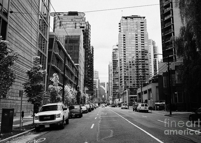 High-rise Greeting Card featuring the photograph high rise apartment condo blocks in the west end west pender street Vancouver BC Canada by Joe Fox