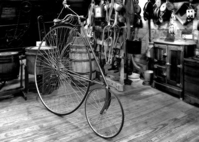 Penny Greeting Card featuring the photograph High Wheel 'penny-farthing' Bike by Christine Till