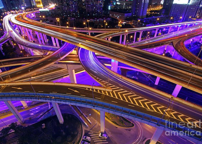 Shanghai Greeting Card featuring the photograph Highway Intersection In Shanghai by Lars Ruecker