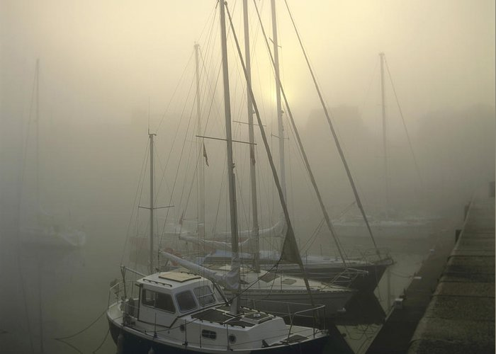 Ambiance Ambient Atmosphere Atmospheric Boat Boats Calvados Day Daylight Daytime During Europe European Exterior Exteriors Filled Fog Foggy France French Full Harbor Harbour Harbour Haze Hazy Honfleur In Mist Mists Misty Mood Mood-filled Moods Nobody Normandy Of Outdoor Photo Photos Port Ports Shot Shots The Greeting Card featuring the photograph Honfleur Harbour In Fog. Calvados. Normandy. France. Europe by Bernard Jaubert