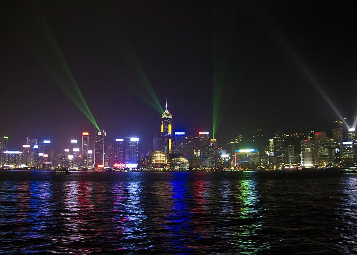 Abstract Greeting Card featuring the photograph Hong Kong Harbour Laser Light Show by IB Photography