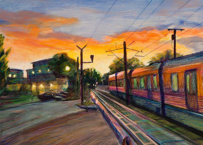 South Pasadena Greeting Card featuring the painting Hope Crossing by Athena Mantle