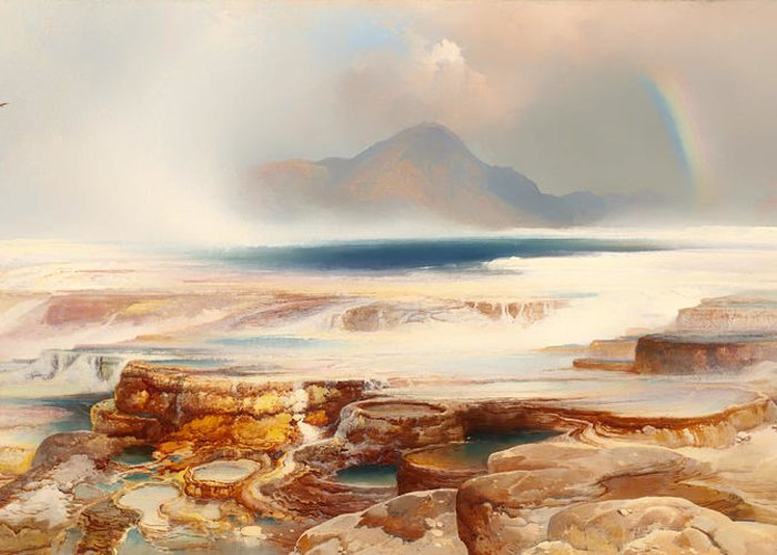 Painting Greeting Card featuring the painting Hot Springs Of Yellowstone by Mountain Dreams
