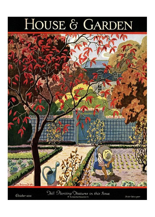 House And Garden Greeting Card featuring the photograph House And Garden Fall Planting Number Cover by Pierre Brissaud