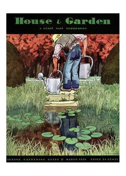 House And Garden Greeting Card featuring the photograph House And Garden Spring Gardening Guide Cover by Pierre Brissaud