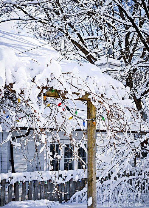 House Greeting Card featuring the photograph House Under Snow by Elena Elisseeva