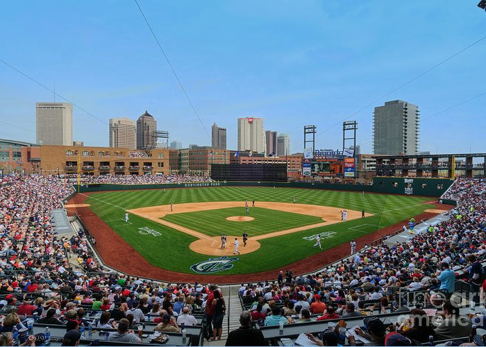 Columbus Clippers Greeting Card featuring the photograph D24w-299 Huntington Park Photo by Ohio Stock Photography