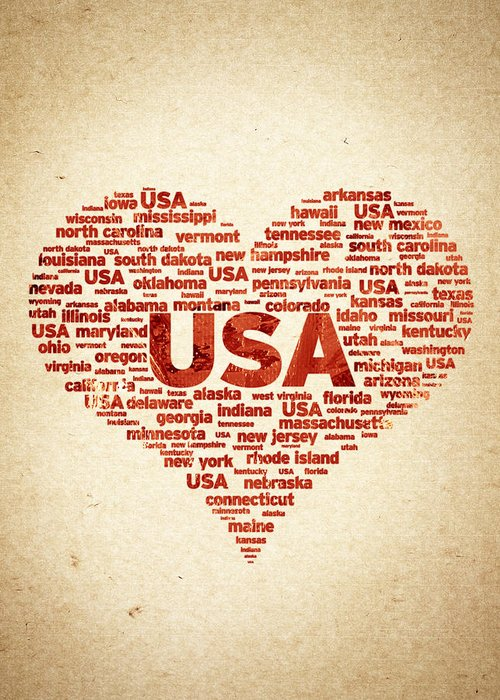 I Love Usa Greeting Card featuring the digital art I Love Usa by Aged Pixel
