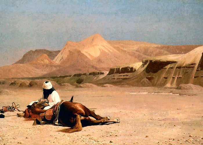 In The Desert Greeting Card featuring the digital art In The Desert by Jean-Leon Gerome