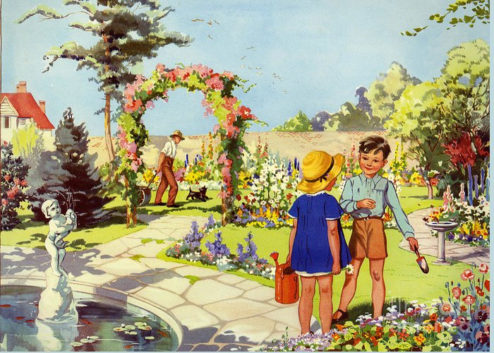 1950�s Greeting Card featuring the drawing Infant School Illustrations 1950s Uk by The Advertising Archives