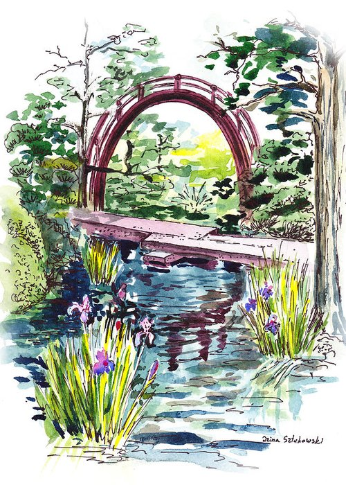 Bridge Greeting Card featuring the painting Japanese Tea Garden San Francisco by Irina Sztukowski