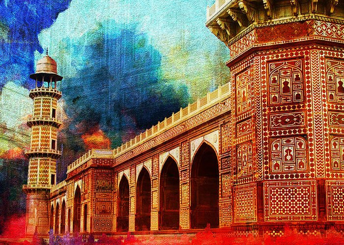 Pakistan Greeting Card featuring the painting Jhangir Tomb by Catf