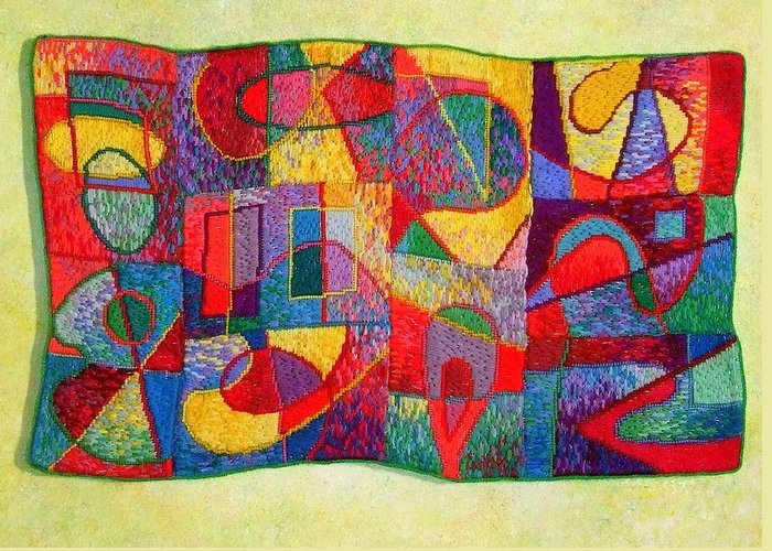 Abstract Expressionist Tapestry Greeting Card featuring the tapestry - textile Jigsaw Tapestry by Diane Fine