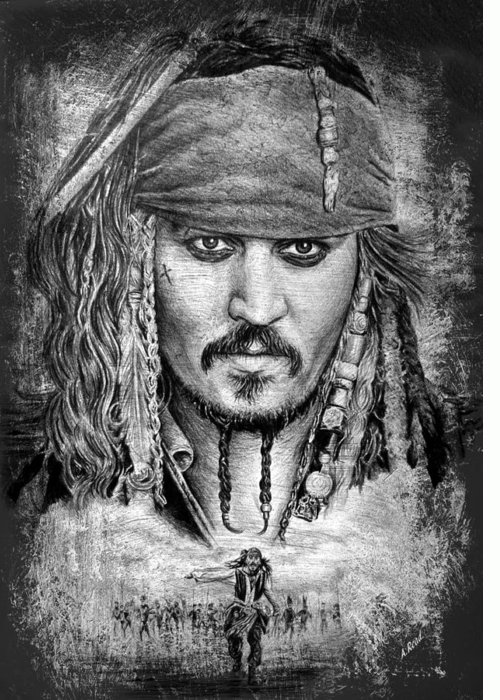 Johnny Depp Greeting Card featuring the drawing Johnny Depp by Andrew Read