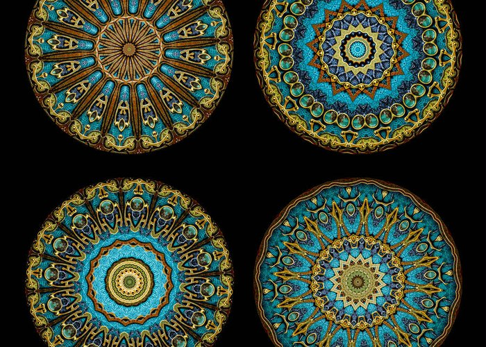Fantasy Greeting Card featuring the photograph Kaleidoscope Steampunk Series Montage by Amy Cicconi