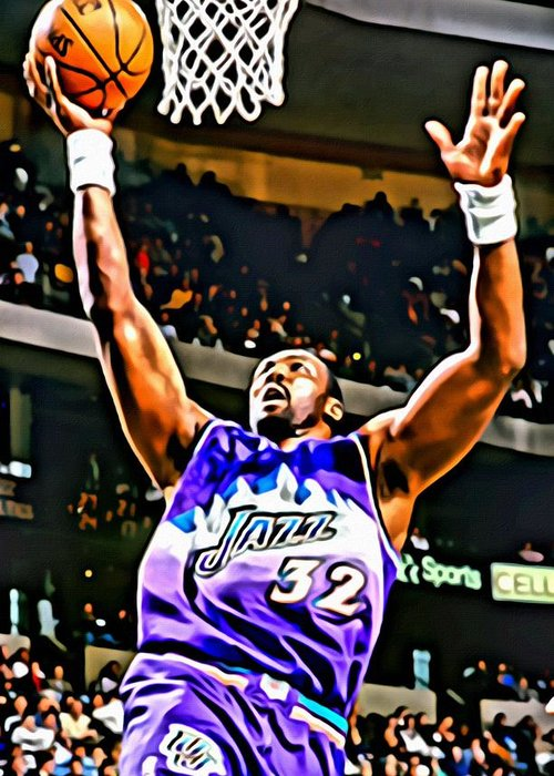 Karl Malone Greeting Card featuring the painting Karl Malone by Florian Rodarte