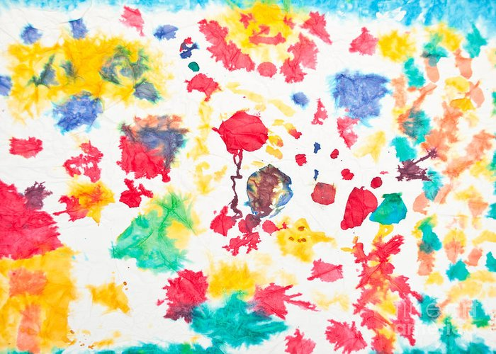 Art Greeting Card featuring the photograph Kid's Artwork Colorful Background by Aleksandar Mijatovic