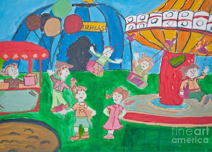 Circus Greeting Card featuring the photograph Kid's Drawing Of Circus by Aleksandar Mijatovic