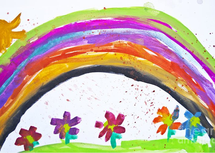 Art Greeting Card featuring the photograph Kid's Drawing With Flowers And Colorful Rainbow by Aleksandar Mijatovic