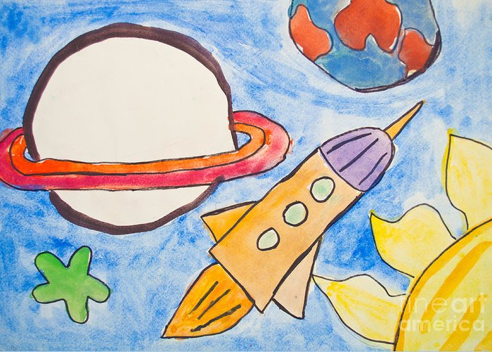 Art Greeting Card featuring the photograph Kid's Painting Of Universe With Planets And Stars by Aleksandar Mijatovic