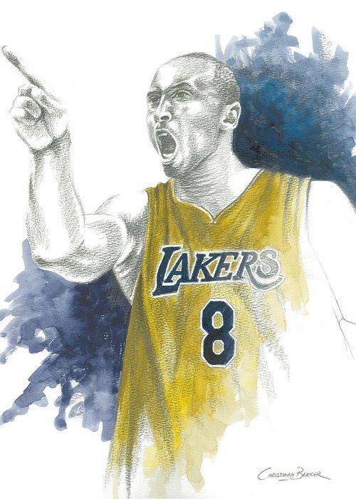 Kobe Greeting Card featuring the painting Kobe Bryant by Christiaan Bekker