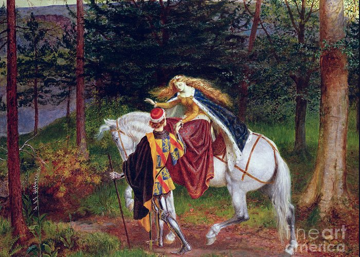 Horse Greeting Card featuring the painting La Belle Dame Sans Merci by Walter Crane