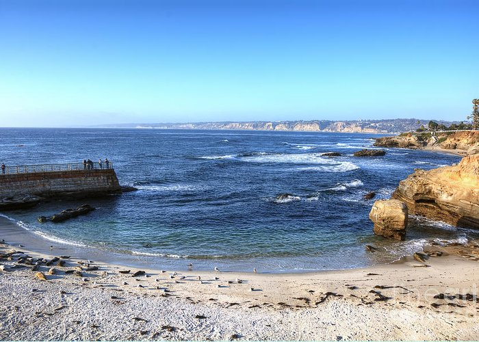 La Jolla Greeting Card featuring the photograph La Jolla Shores by Eddie Yerkish
