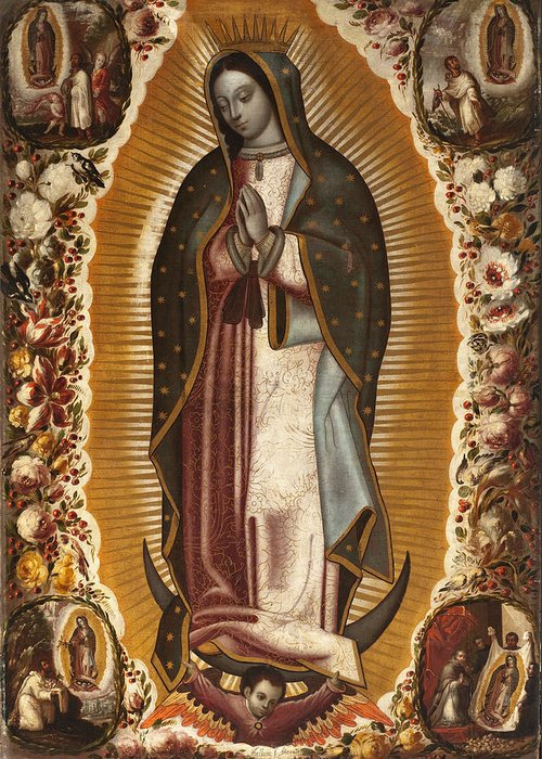 The Virgin Of Guadalupe Greeting Card featuring the painting La Virgen De Guadalupe by Manuel de Arellano