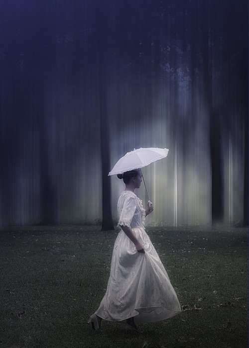Girl Greeting Card featuring the photograph Lady In The Woods by Joana Kruse