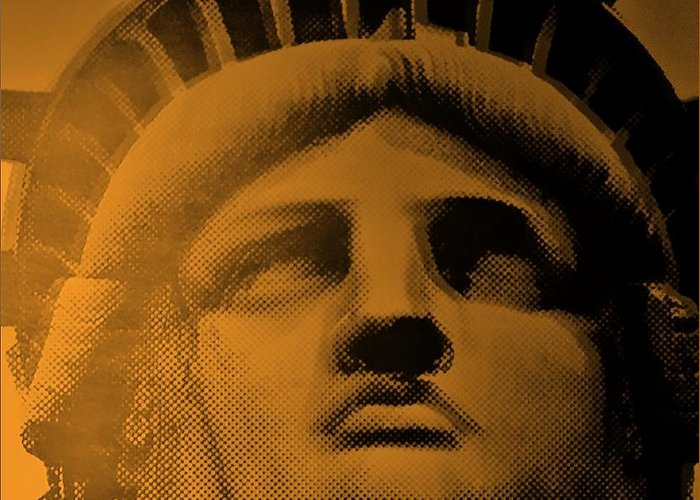 Statue Of Liberty Greeting Card featuring the photograph Lady Liberty In Orange by Rob Hans