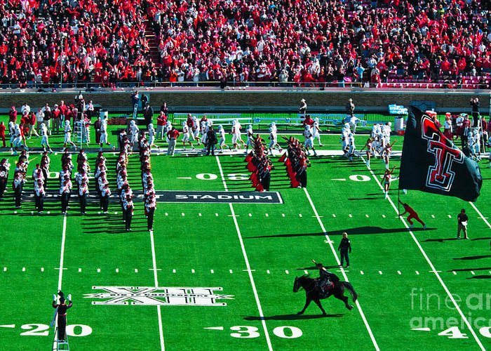 Lady Raider Racing During Half-time At Jones Stadium In Lubbock Greeting Card featuring the photograph Lady Raider by Mae Wertz