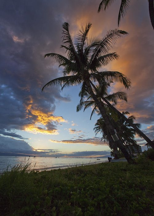 Lahaina Hawaii Maui Sunset Palmtrees Clouds Beach Ebb Flow Greeting Card featuring the photograph Lahaina Sunset by James Roemmling