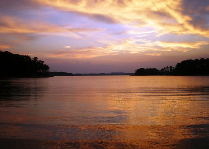 Landscape Greeting Card featuring the photograph Lake Lanier Sunset by Robert Richardson