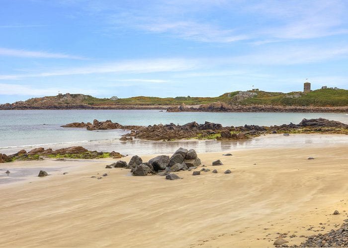 L'ancresse Bay Greeting Card featuring the photograph L'ancresse Bay - Guernsey by Joana Kruse