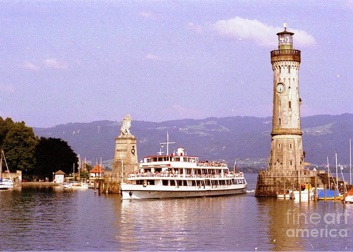 Germany Greeting Card featuring the photograph Landau Harbor Entrance by Ted Pollard