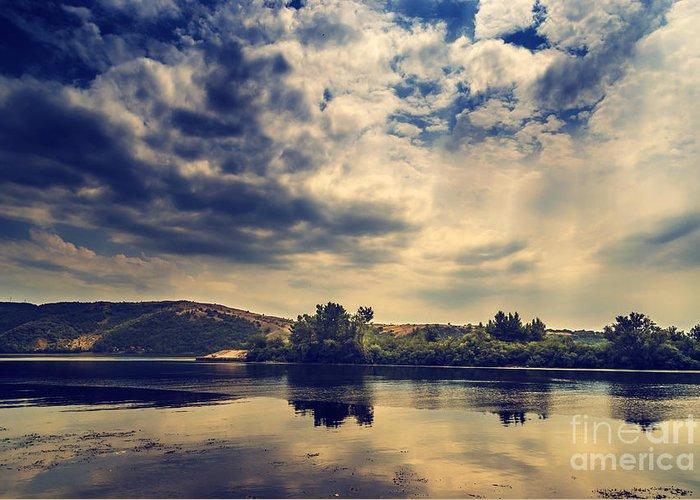 Landscape Greeting Card featuring the pyrography Landscape by Jelena Jovanovic