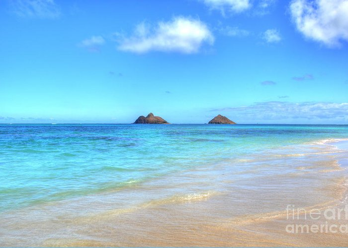Mokulua Islands Greeting Card featuring the photograph Lanikai Beach Oahu Hawaii by Kelly Wade